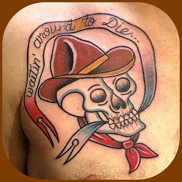 Cowboy skull on my new friend Max!  Thanks so much man!  I had a blast making this one. Fun hangin' and chatting!  DM or email deaddreamnation@gmail.com to set something up!  Thanks for looking. 👁 🌝 🌖 🌗 🌘 🌚 🙏🏻 #bonumvitae  #stayposi #americanclassictattooandbodypiercing #athensga  #athenstattoos #athensgatattooers #uga #realtattoos  #tattoo #gatattooers  #southeastustattoos #athenstattooer  #americantraditionaltattoos #traditionaltattoos #bright_and_bold #boldwillhold #scripttattoos  #kitschtattoo #kitsch #folkart #folktattoos  #weirdo #weirdotattoos #hobotattoo #cowboytattoo #skulltattoo #cowboyskulltattoo #skull #waitinaroundtodie #townesvanzandt