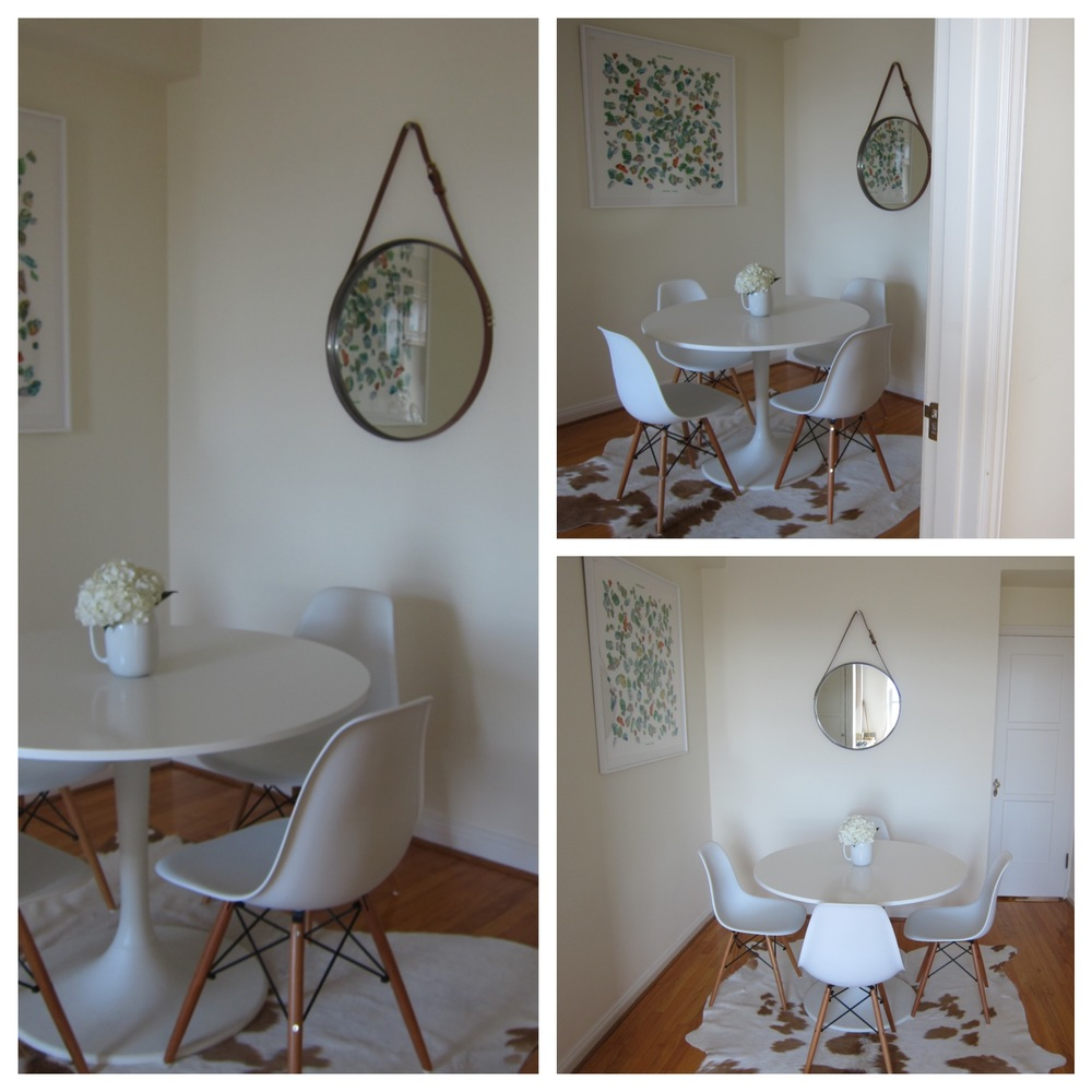 A beautiful dinning room in San Francisco with mid century modern molded chairs and vintage Hermes scarf.