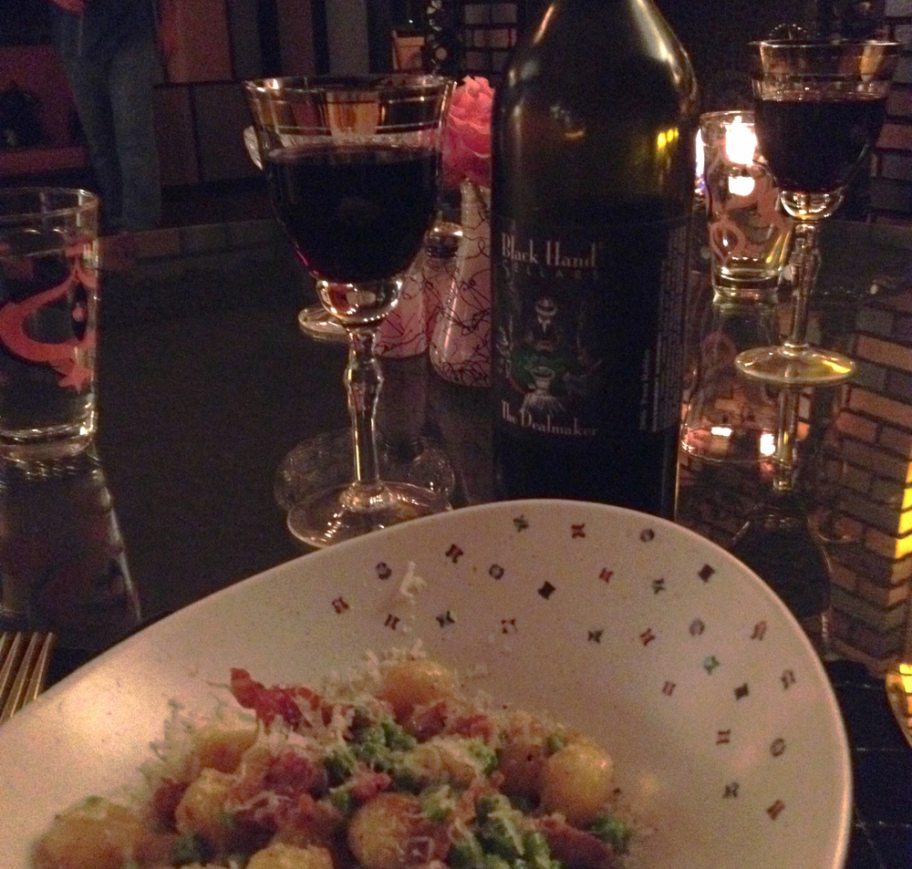 Gnocchi with brussel sprouts and pancetta... Pasta course...served with Black Hand Cellars wine, a member of the Pacific Coast Wine Trail.