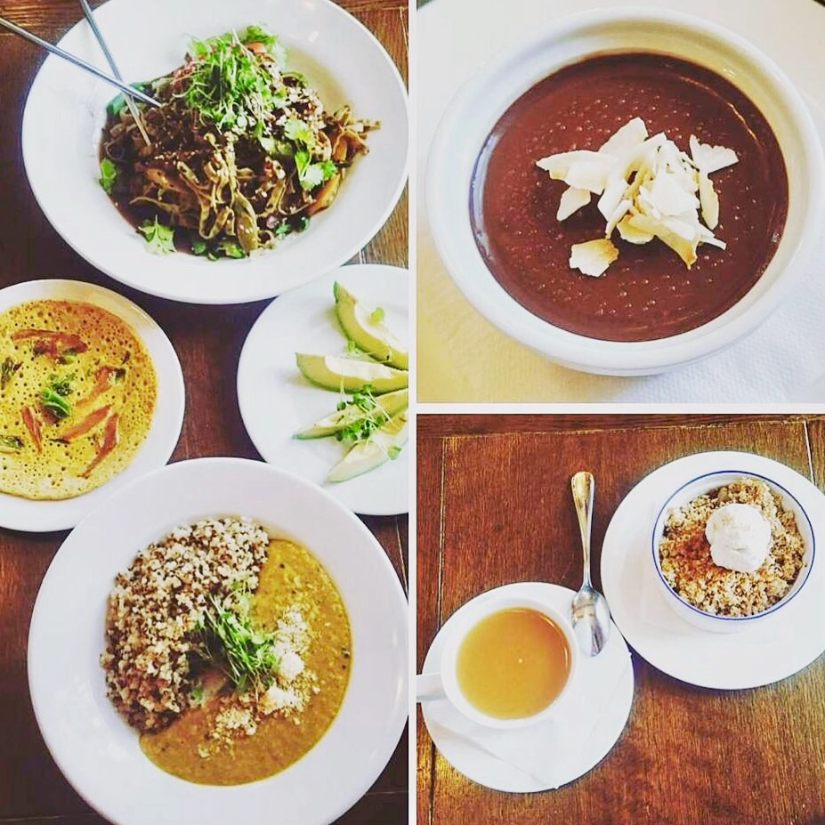 Bottom left to right: Vida's Dahl with quinoa, pudla, Thai Malaysian Noodles, avocado spears, Buddha's Chocolate Mousse, tea and Warm Cinnamon Apple Crisp. All organic, all fresh, all YUM!