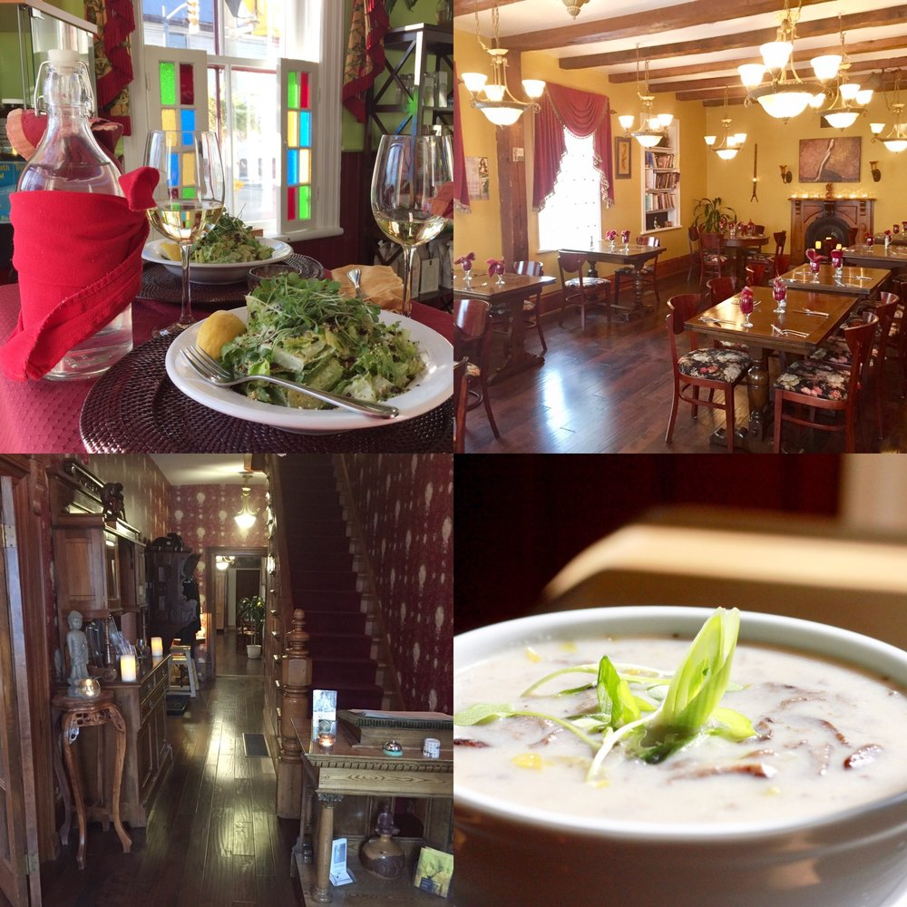 Bottom left to right: Front hall entrance, Vegan caesar with chickpea tempeh, organic chardonnay, dining room, Vegan Honey Mushroom soup.