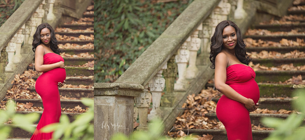 red-maternity-gown-stone-steps-atlanta