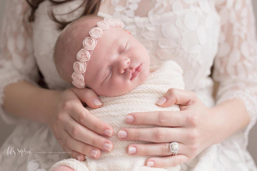 atlanta-georgia-natural-light-photographer-baby-newborn-girl-studio-pink-flower-crown-lace-pretty-sweet-organic