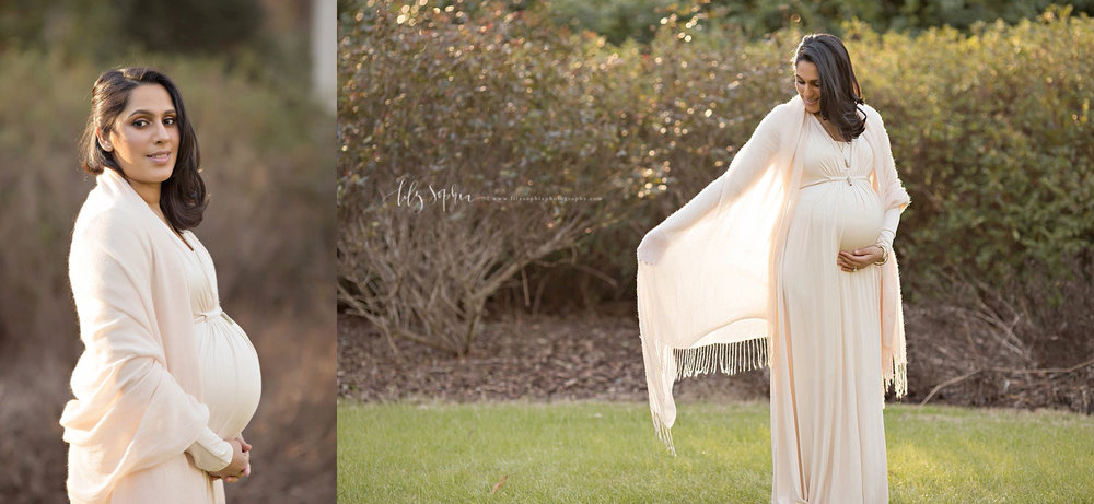 atlanta-intown-gardens-maternity-pictures-baby-girl-photographer-ivory-dress-pink-scarf-pregnancy-pictures