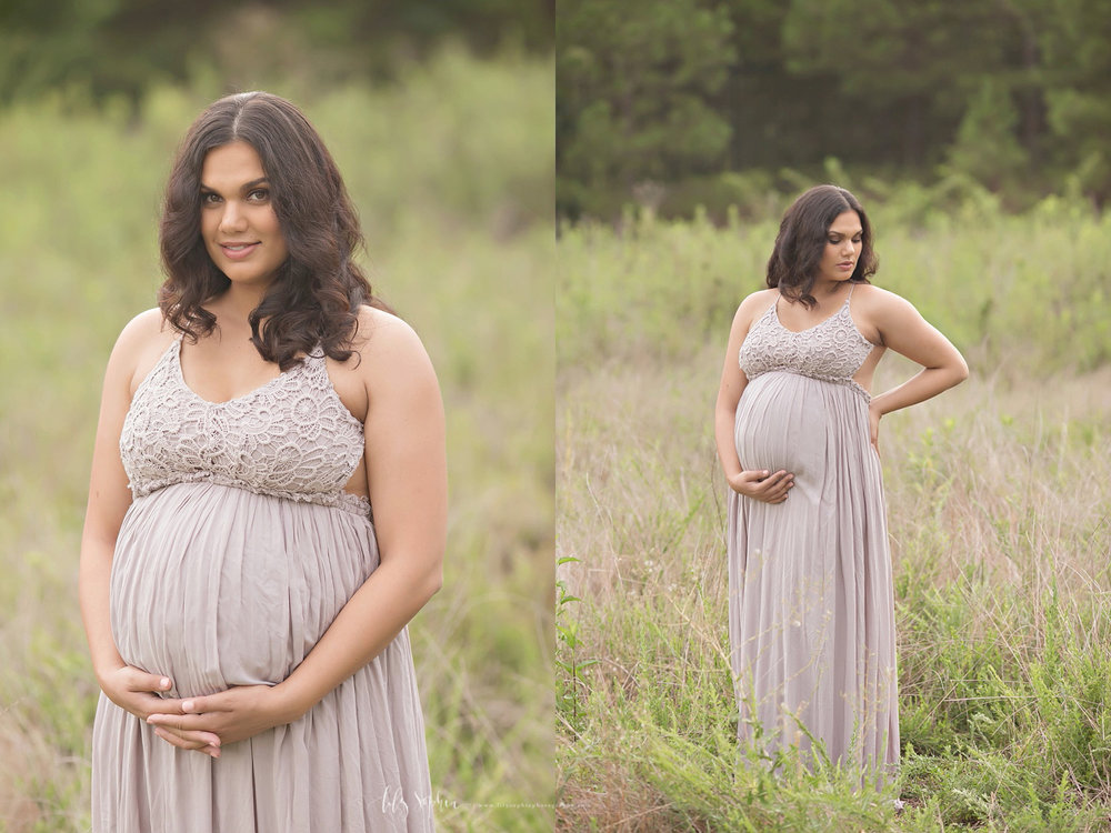 Pregnant Australian woman in Atlanta field at sunset wearing taupe flowing maternity gown.