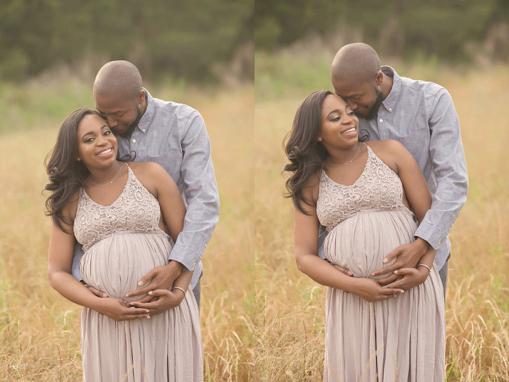 Pregnant African American Couple Expecting Baby Girl Standing In An Atlanta Field Nbspembracing And