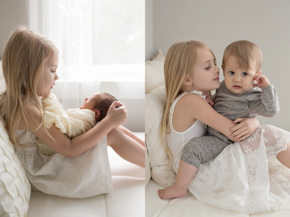 Big sister and little brother together during newborn session and then one year later in the