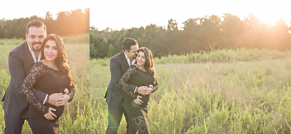 Side by side images of a Latino man, hugging his pregnant wife from behind, while standing in a field at sunset.