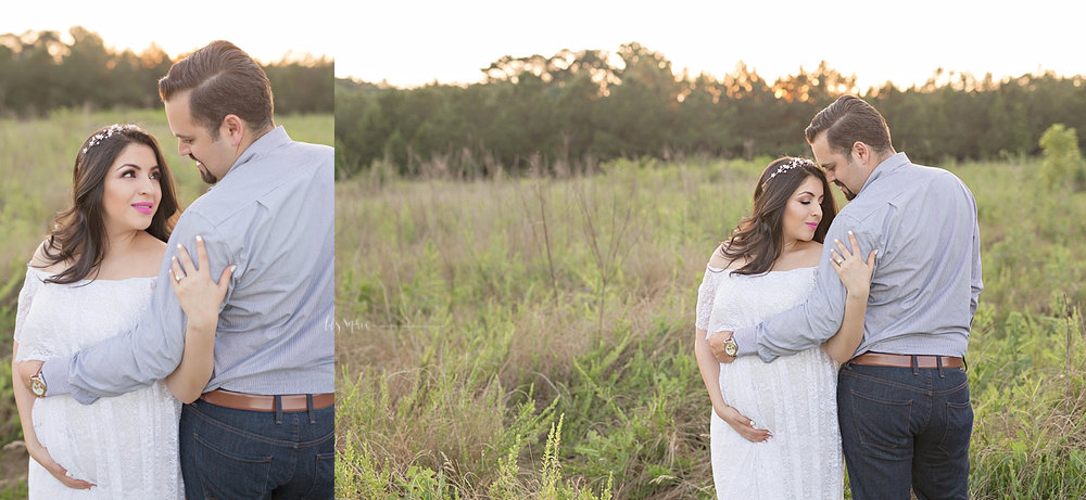 Side by side images of a pregnant woman, wearing a white lace, off the shoulder dress, standing in a field with her husband.