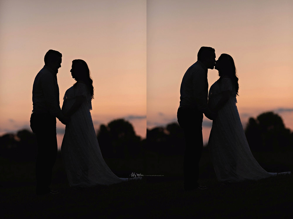 Side by side, silhouette images of a pregnant woman, and her husband.