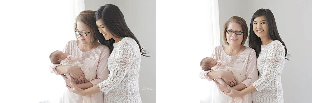 Side by side images of an Asian grandmother, holding her newborn, baby, granddaughter while her daughter stands beside her smiling.