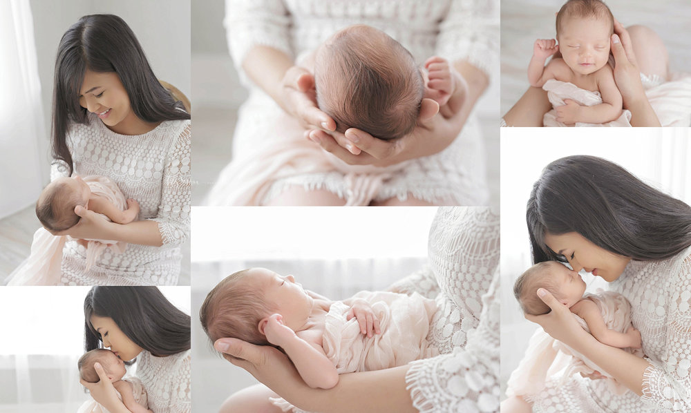 Image collage of an Asian woman, holding her sleeping, newborn baby daughter.