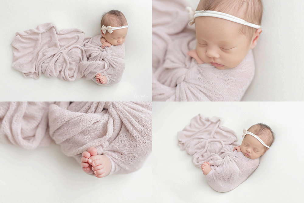 Image collage of a sleeping, newborn, baby, Asian, girl, wrapped in a light purple wrap, with just her toes and fingers sticking out.