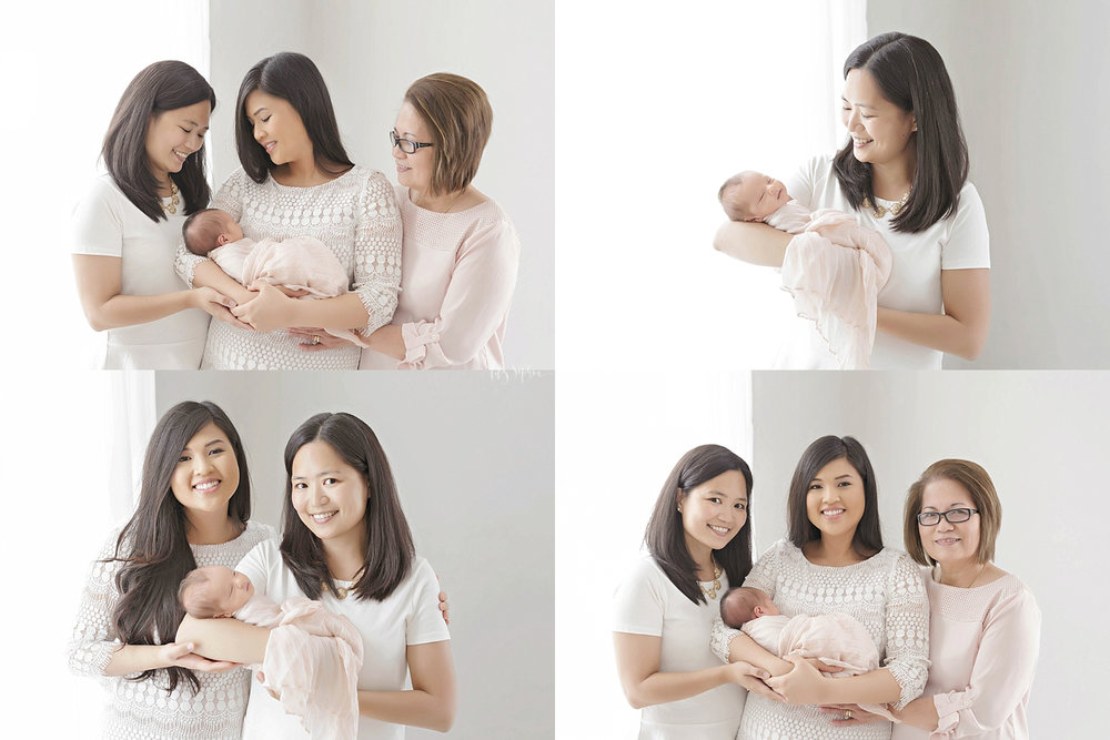 Image college of Asian women holding a sleeping, newborn, baby girl.