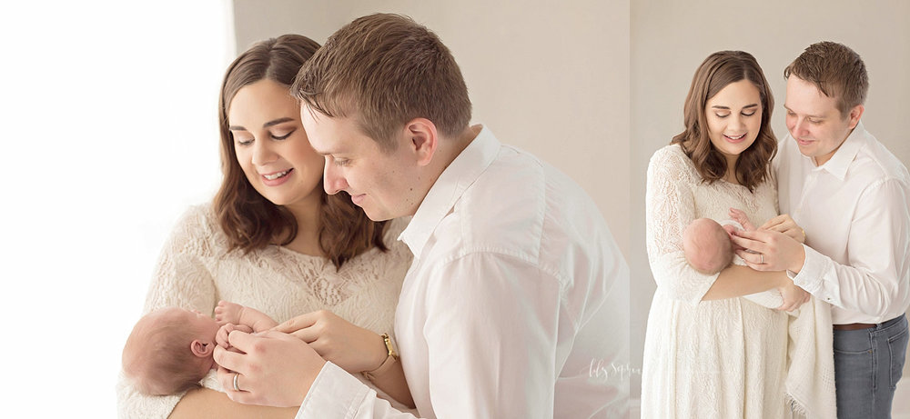 Side by side images of a new mother, holding her newborn son, with her husband next to her while they both look down at their son and smile.
