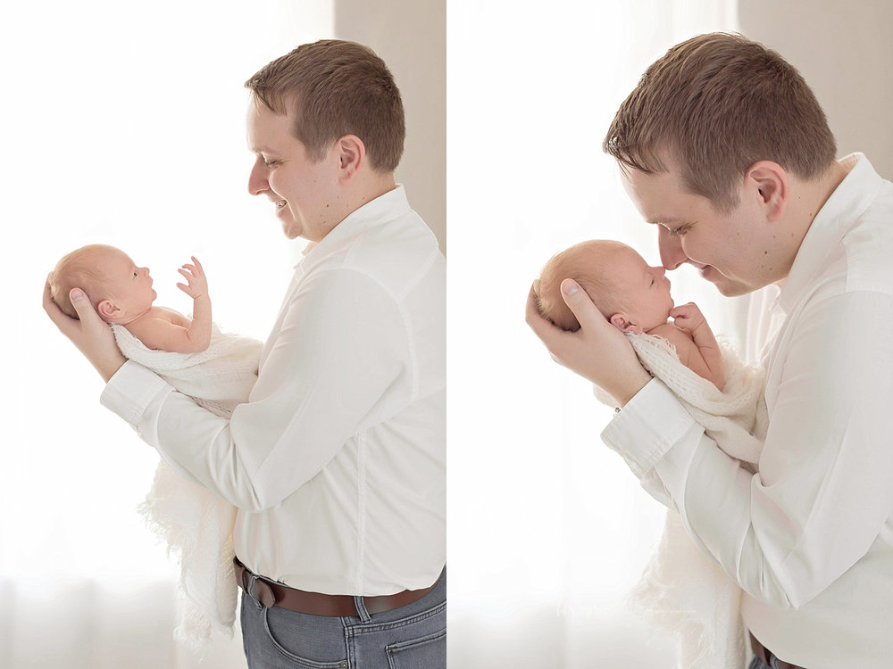 Side by side images of a father holding his newborn son and interacting with him.