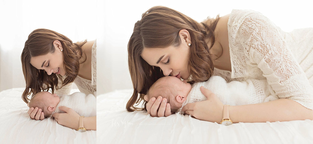 Side by side images of a mother, cradling her newborn son who is on a bed.