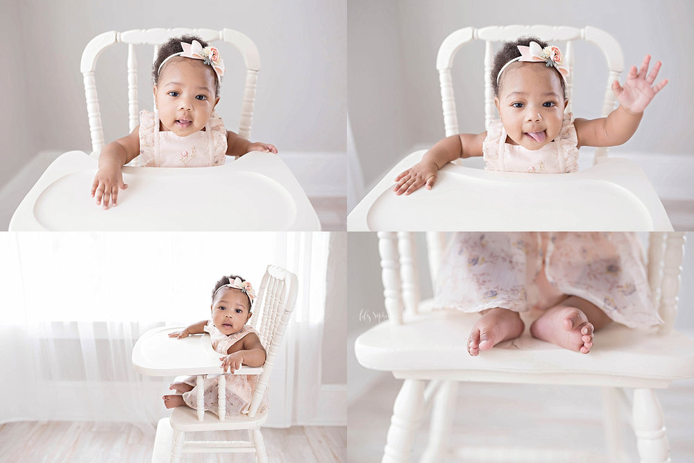 Image collage of a 6 month old baby, girl, African American, sitting in an antique wooden high chair and wearing a pink ruffled dress.