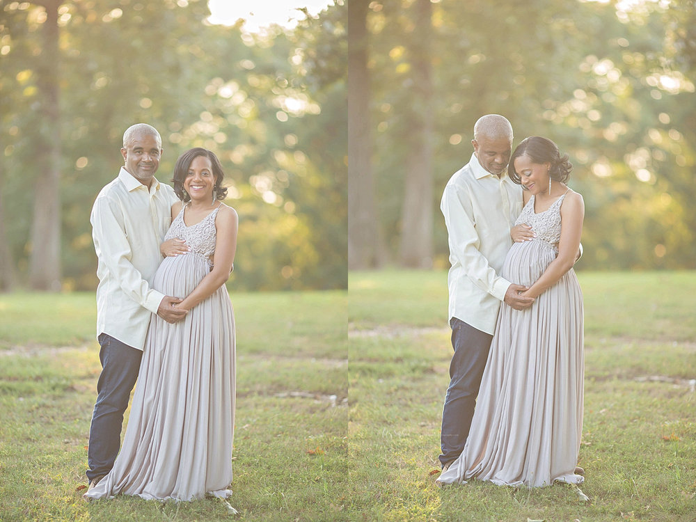 Side by side images of a pregnant, African American woman, and her husband, standing in a park at sunset.