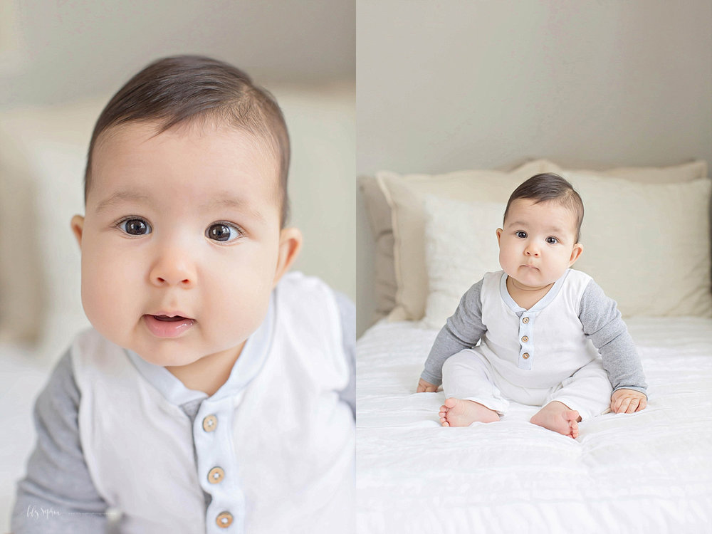 Side by side images of a chubby 6 month old, baby, boy's face.