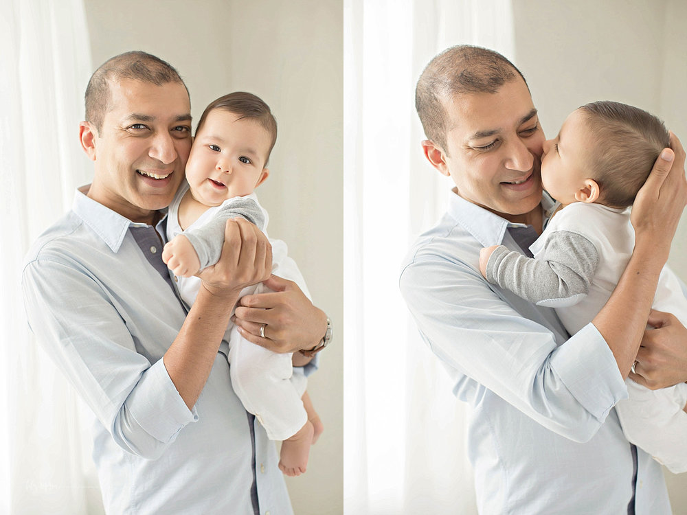 Side by side images of a father interacting with his 6 month old baby, boy.