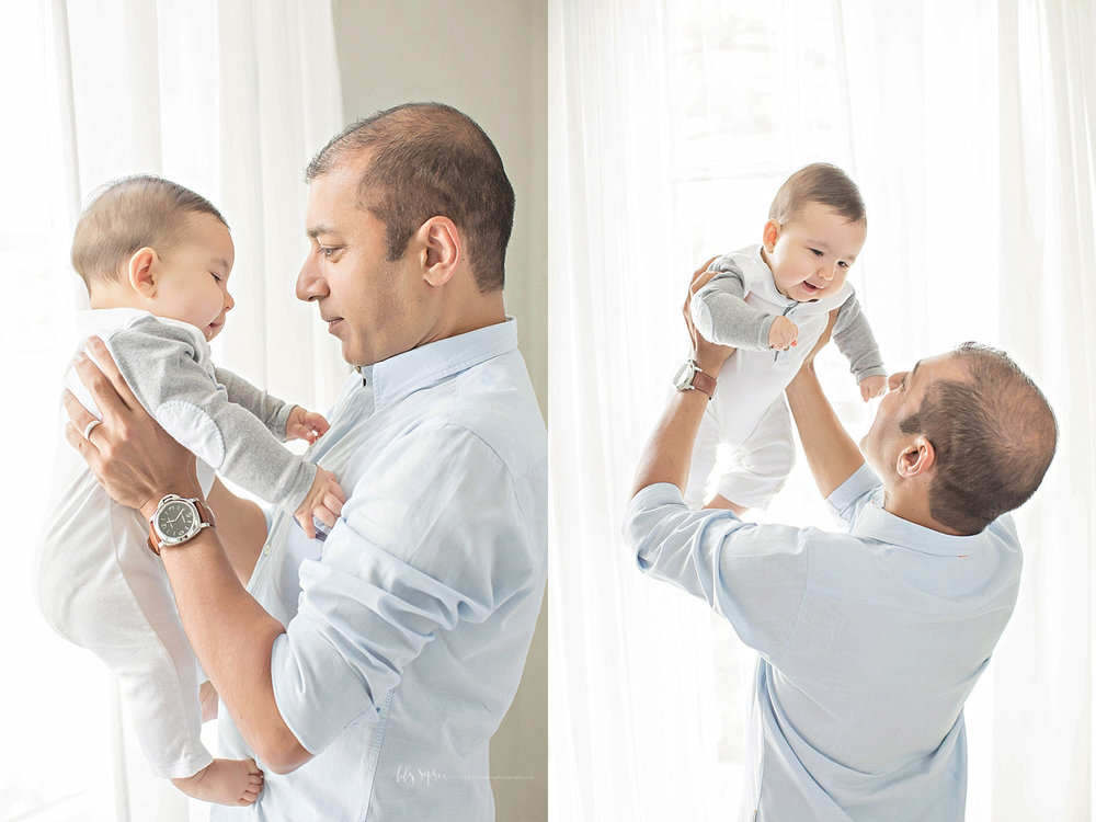 Side by side images, of a 6 month old, baby, boy, being held up in his father's arms.