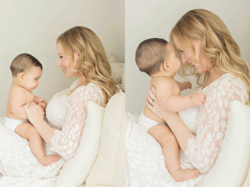 Side by side images of a mother, sitting up on a bed,holding her 6 month old baby, boy on her lap, and interacting with him.