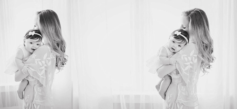 Side by side, black and white images of a mother, holding her baby daughter in her arms, while the baby rests her head on her shoulder.