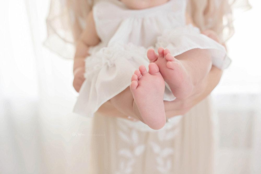 Macro image of little baby girl, toes.