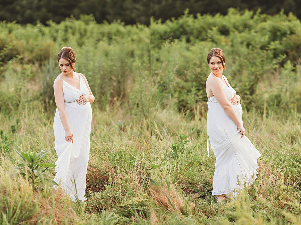 Side by side images of a pregnant, woman, in a white spaghetti strap, maxi dress, smiling in afield.