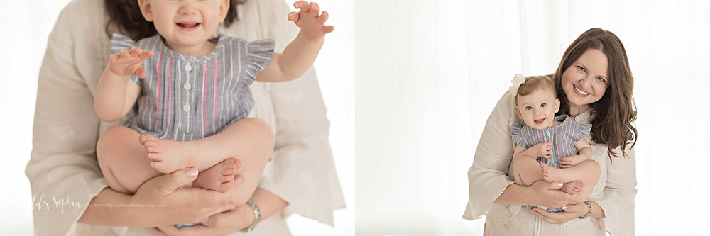 Side by side images of a mother, in a cream dress, holding her baby daughter in her arms, in front of a window in a natural light studio.