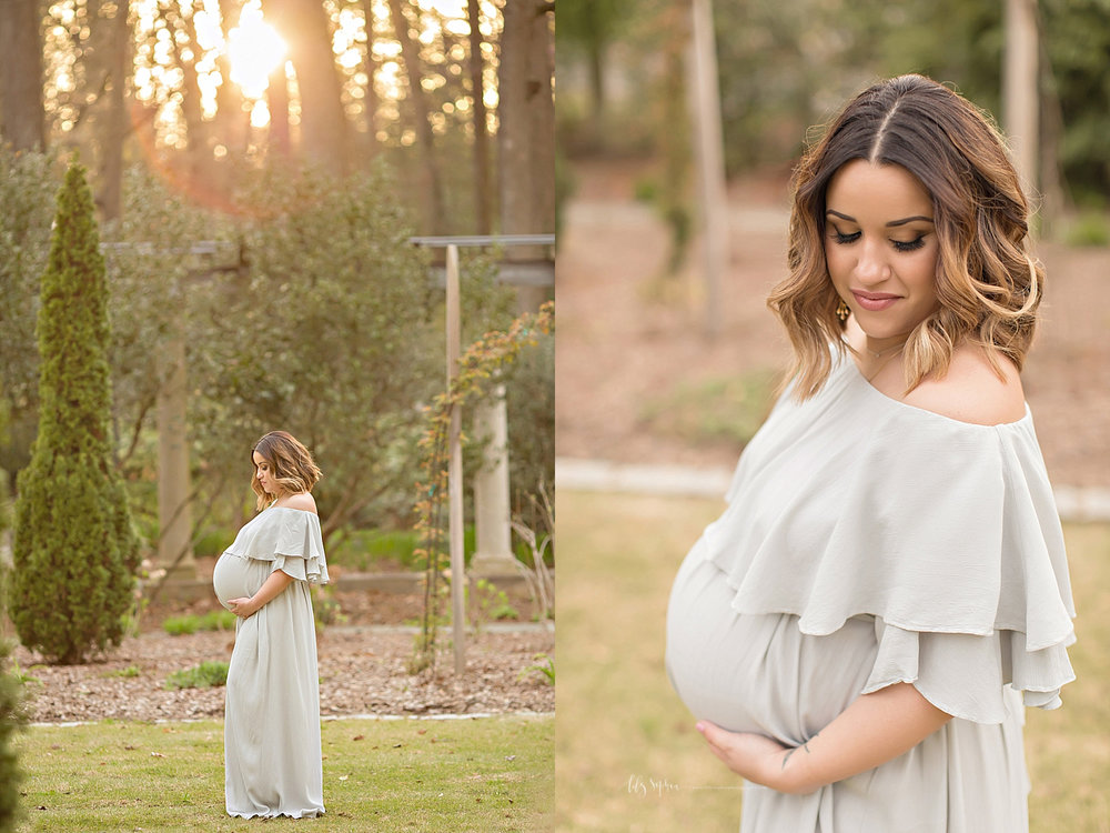 Side by side images of a pregnant woman, wearing a gray, silk, off the shoulder dress, with her hands under her belly.
