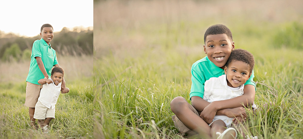 Side by side images of a two African American boys, smiling in a field.