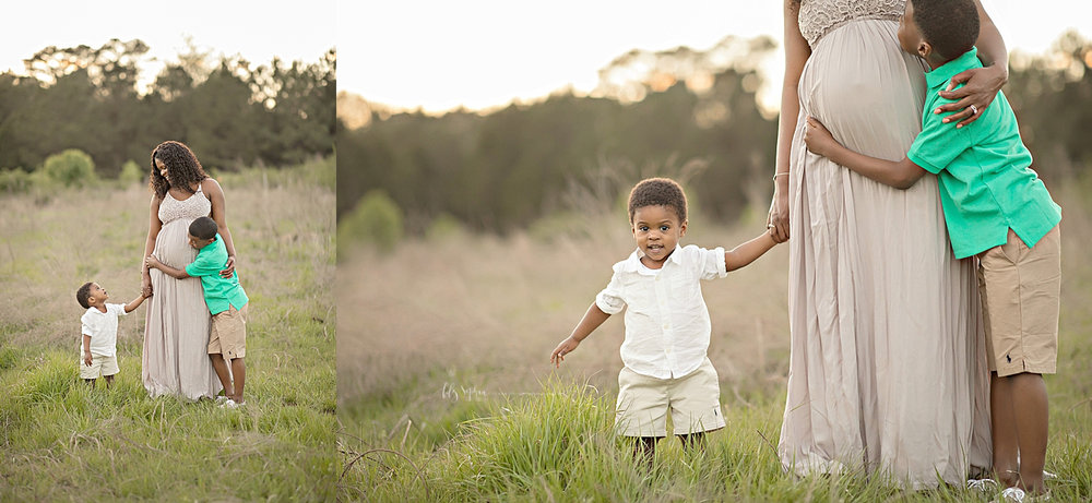 Side by side images of a pregnant, African American mother, and her two sons, standing in a field at sunset.