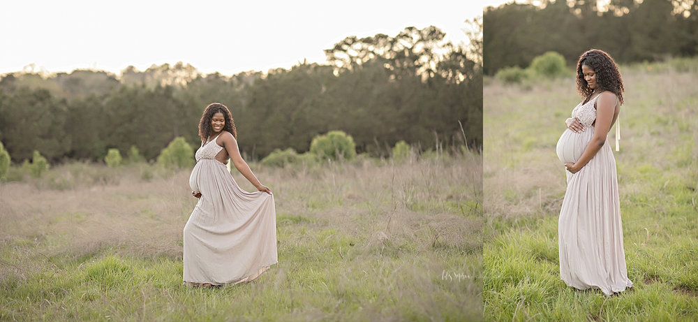 Side by side images of a pregnant, African American, woman, in a sleeveless, lace top dress, standing in an Atlanta field at sunset.