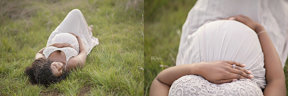 Side by side images of a pregnant, African American woman, laying on the ground, in a field, with her hands on her belly.