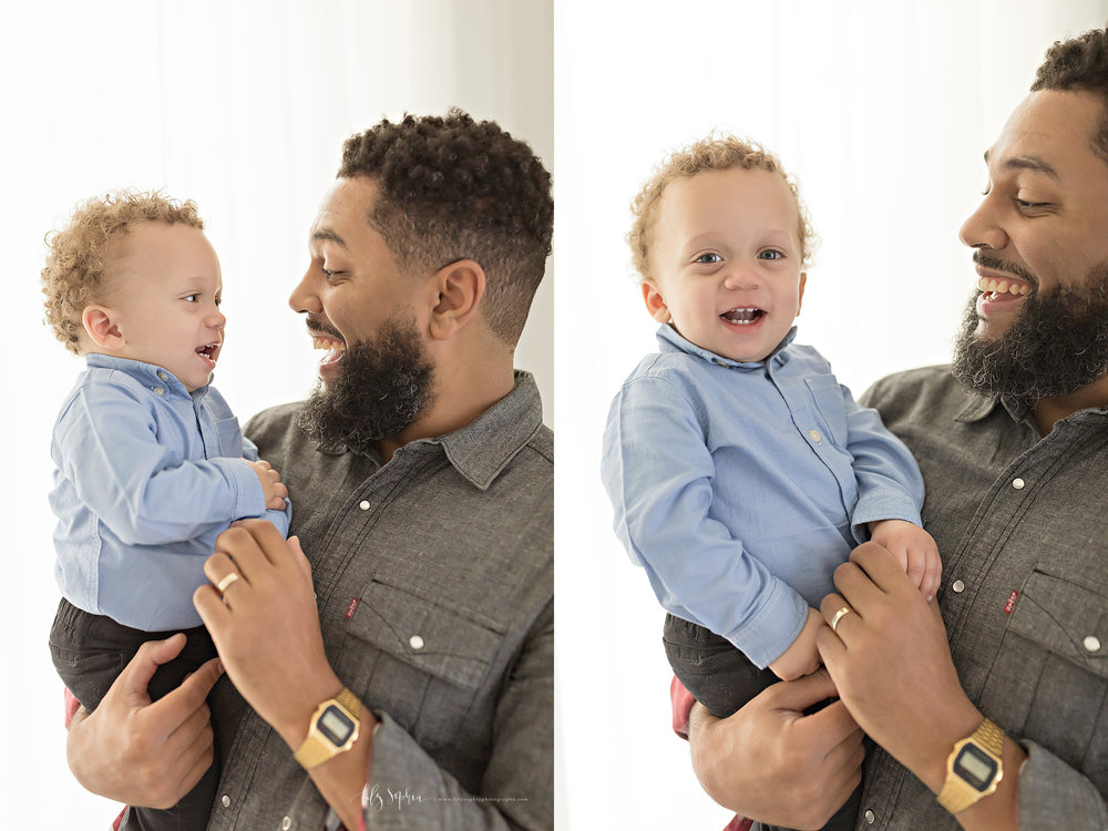 Side by side images of an African American father playing with his baby son in his arms.