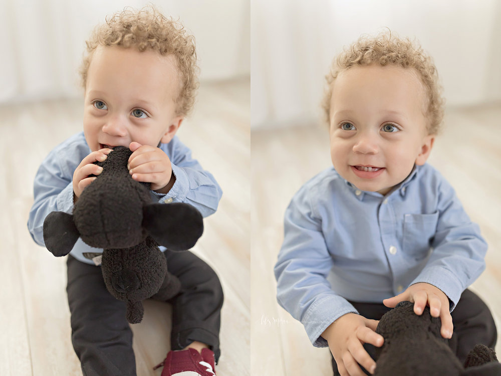 Side by side images of a baby boy, smiling and playing with his favorite stuffed dog.