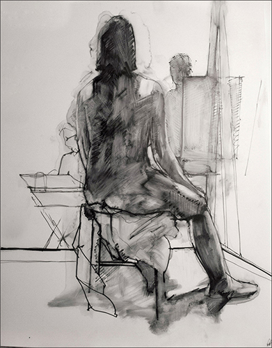 Seated Figure Facing Away
