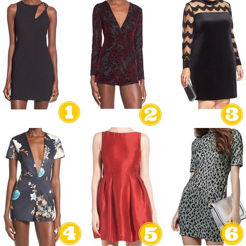 Option 1: Nordstrom, ASTR Shoulder Cutout Sheath Dress, $39.90 ($68.00) Option 2: Nordstrom, Missguided Velvet Surplice Romper, $37.20 ($62.00) Option 3: Nordstrom, Junarose Illusion & Velveteen Shift Dress (Plus Size), $49.49 ($99.00) Option 4: Nordstrom, Missguided Floral Plunge Romper, $34.80 ($58.00) Option 5: Nordstrom, Soprano Bow Back Fit & Flare Dress, $58.00 Option 6: Nordstrom, Topshop Jacquard Leopard Body-Con Dress (Regular & Petite), $34.99 ($68)