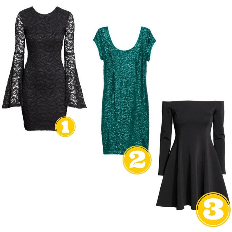 Option 1: H&M, Lace Dress, $24.99 Option 2: H&M, Sequined Dress, $9.99 Option 3: H&M, Off-the-shoulder Dress, $49.99