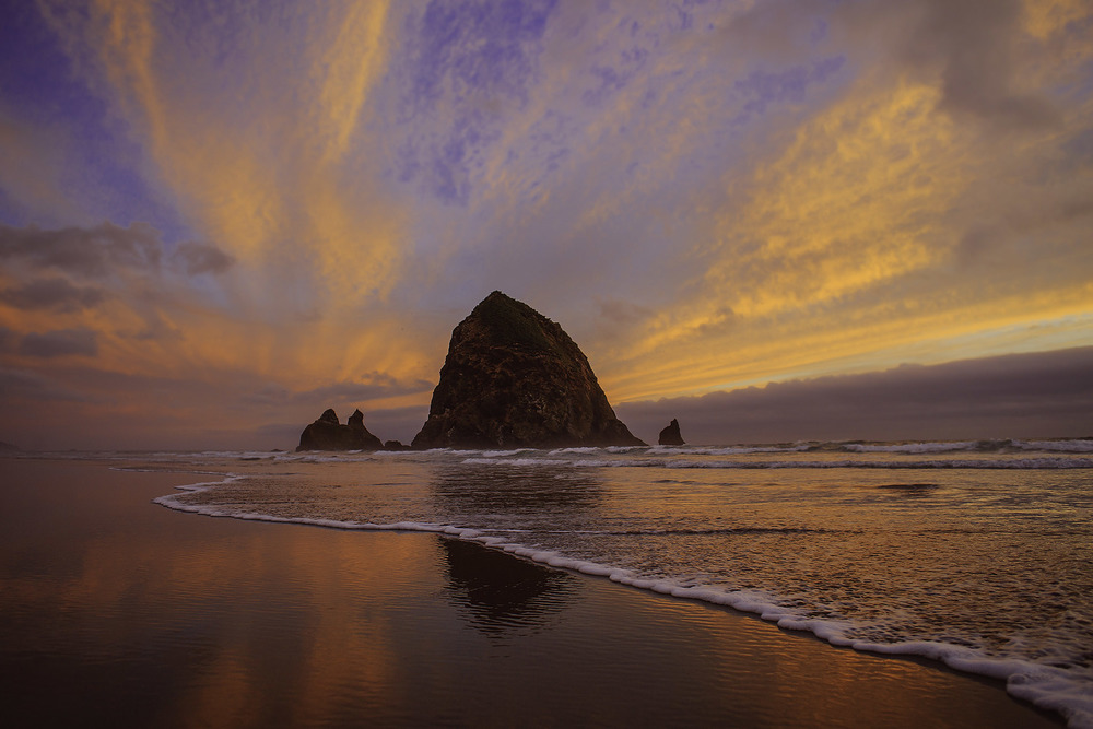 haystack rock, sunset, oregon coast, west coast photography , jennifer picard photography