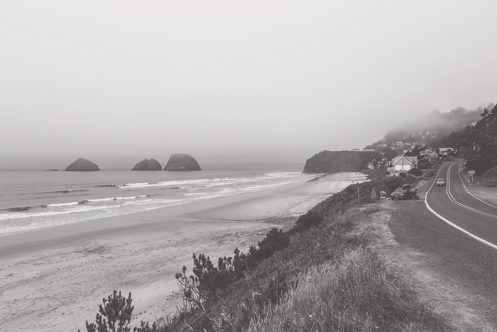oregon coast, black and white, travel photography, jennifer picard photography