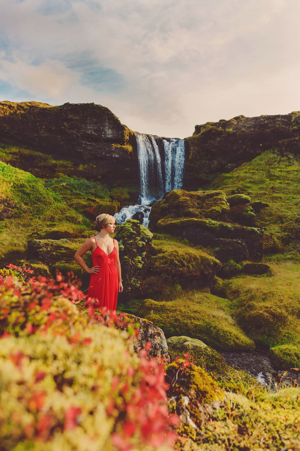 red dress project, iceland, jennifer picard photography and zen thinking collaboration, fine art portraiture