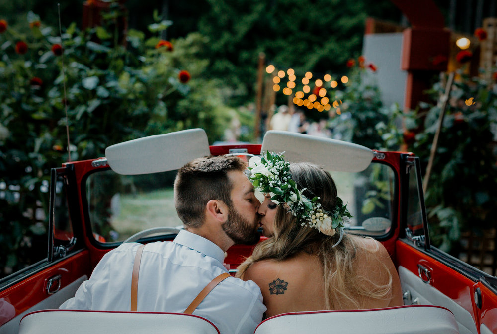 Roberts Creek Wedding Photos, Backyard Wedding Photos, Flower Crown, VW Bug wedding photos, Sunshine Coast Wedding Photographer, Vancouver Wedding Photographer