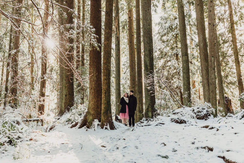 Snowy Winter Forest and Beach Engagement Photos in Gibsons on the Sunshine Coast, BC