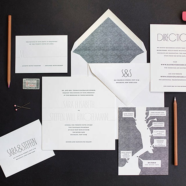 Custom invitations on gorgeous Crane's Lettra with black and shadow inks. Featuring a custom map and matching envelope liner. Happy Wedding Day @lilstel @steffenringelmann #custominvitations #letterpress #igcustom #inspiredgoodness #lettra #map #envelopeliner