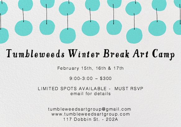 Join us for our 3 day Winter Break Art Program!     Tumbleweeds 3-day mini art camp will be a creative exploration of the work by Mexican artist Pia Camil. The first 2 days of camp will be spent in the studio learning about Camil's hand-dyed and stitched fabric work.    We will be learning how to hand-dye our own fabric and decorating them with printing and painting techniques. The kids will then stitch together their pieces to create their very own Pia Camil inspired fabric art! On Wednesday, the final and 3rd day of camp we will be going on an art outing to the New Museum to view Pia Camil's solo exhibition.  During our studio camps days there will also be free art time to draw and paint as well as playtime. If weather permits us we will head over to the American Playground, a couple blocks from the studio, to get some fresh air and exercise! There will be snack time and lunchtime as well. The 3-day program will be small and exclusive with limited spots available. Please RSVP to confirm your child's spot!