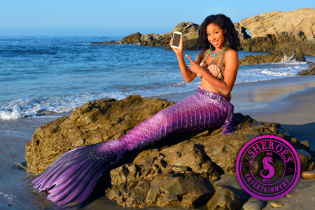 Black Professional Mermaid Party Character Los Angeles