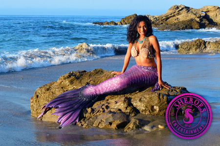 Black Mermaid Character for Birthday Party in Los Angeles